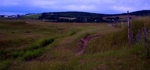 Road trip: Chipoudy, Thibodeau's 1697 dike segment (left) and aboitteau site (where creek at center now breaks through), Thibodeau Hill in the background