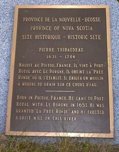 Pré Ronde Creek, Thibodeaux monument, next to millstone