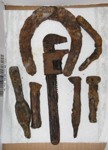 iron hardware, wrench, broken pickaxe head, heavy nail & horseshoe