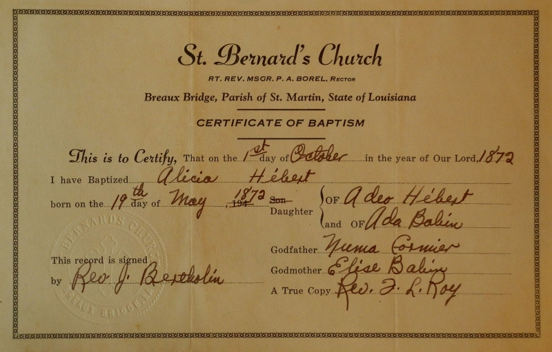 Hebert baptism, 1872, St Bernard's church, Breaux Bridge