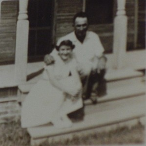 1945ish, Geraldine's Confirmation, front porch with father David-