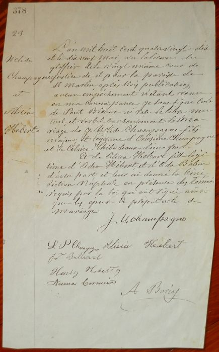 Marriage document - Alicia Hebert m. J Uclide Champagne, May 19, 1890