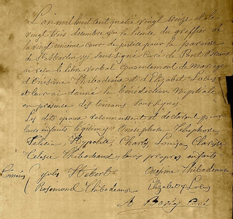 Marriage document, Onezime E Thibodeaux and Elizabeth Locust, Dec.23, 1893