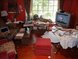"The business (messy) end of the ""L"", indoor and outdoor (our kitchen and bbq deck before we raised the house)"